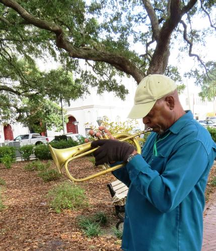 Trumpet Player, Savannah Square, photo by Mike Keenan